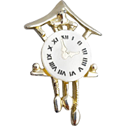 1950s Novelty Brooch Cuckoo Clock Pin 3:00 P.M.