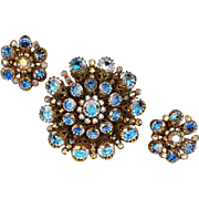 Huge Rhinestone Hobe' Brooch with Earrings Spectacular Sparkle Demi Parure