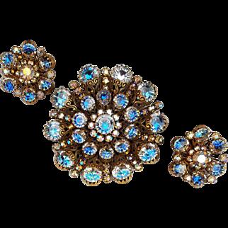 Huge Rhinestone Hobe' Brooch with Earrings Spectacular Sparkle Demi Parure