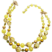 1960s Vintage Beaded Necklace Lemon and Gold and Green Crystal Beads Deauville