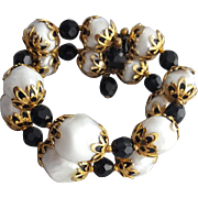 Delicious 1960s Memory Wire Bracelet Black White Gold Small Medium Large