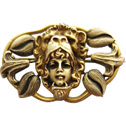 Superb Antique Art Nouveau Brooch Woman Wearing Lion Headdress Very Special