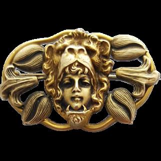 Superb Antique Art Nouveau Brooch Woman Wearing Lion Headdress Very Special