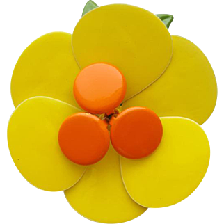 Big Bright Yellow Brooch Enameled Flower Power from the 1960s