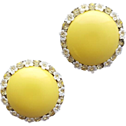 1960s Clip on Earrings Summer Yellow Dainty Daisy Rhinestone Sets