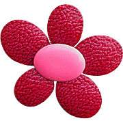 1960s Big Pink Metal Enameled Flower Brooch Euro Mod