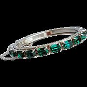Emerald Green Rhinestone Bangle Bracelet Hinged Oval
