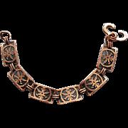 1950s Solid Copper Link Bracelet Aztec God Image Size Small