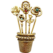 Stick Pins in a Thimble or Flower Pot Brooch / Flower Pot Unsigned Goldette