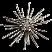 Sterling Silver Rhinestone Sun Burst Brooch 1950s Mid Century Modern 6.5 Grams