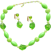 1960s Necklace and Earrings Lime Green Lucite Splash of Color Demi Parure