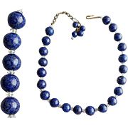 1960s Necklace Art Glass Faux Lapis Lazuli  Beads Unsigned Hobe'
