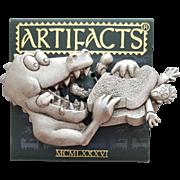 Pewter Brooch Alligator Eating a Man in a Sandwich J.J. Jonette Jewelry