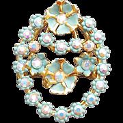 1950s Rhinestone Brooch Tiny Blue Flowers Austria
