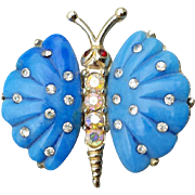 Blue Butterfly Brooch Rhinestone Accents MIB Mid Century 1950s
