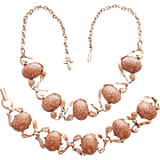 1950s Necklace and Bracelet Faux Goldstone Cabochons Mid Century Parure Gold Stone