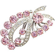 Graceful Eisenberg Rhinestone Brooch Pink and Crystal Ribbon Design