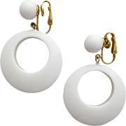 Vintage Crown Trifari White Lucite Hoop Earrings Dangling Clip Ons