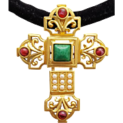 Elizabeth Taylor 1994 Katharina Crucifix / Cross Brooch or Necklace Stunning Vintage