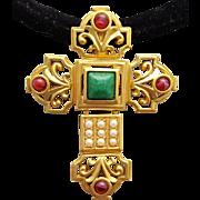 Elizabeth Taylor 1994 Katharina Crucifix / Cross Brooch or Necklace Stunning Vintage