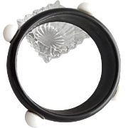 Black Lucite Bangle Bracelet with Attached White Polka Dots