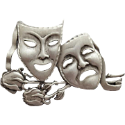 Comedy Tragedy Thespian Masks Actors Brooch J.J. Jonette Jewelry
