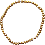 14k Yellow Gold Ball Bead Necklace Circa 1900 Victorian Era 19.2 Grams