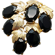 Dramatic Schiaparelli Brooch Midnight Black Rhinestones Gold Plated Leave
