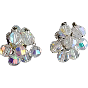 1960s Cut Crystal Earrings with Aurora Borealis and Dangle Construction