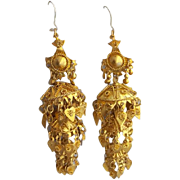 Exotic Gold Tone Chandelier Earrings Tinkling Layers Belly Dance or Festival