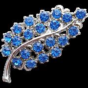 1960s Montana Blue Rhinestone Brooch Graceful Sparkle