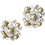 1960s Vintage Clip Earrings White on White and Wonderful