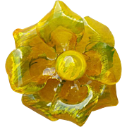 Big Cellulose Acetate Flower Brooch Yellow Green Gorgeous