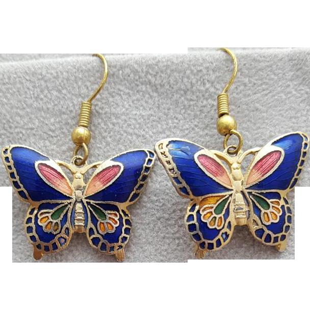 Vintage Butterfly Earrings Pierced Cloisonne Enamel