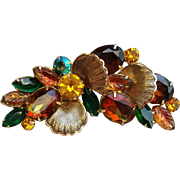 Large Juliana Autumn Brooch Fall Colors Amber, Green, Gold Stones