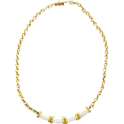 1970s Necklace White Glass Trendy Design and Length