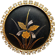 Vintage Damascene Rhinestone Brooch / Necklace Silver Gold Inlay Orchid