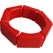 Vintage Expansion Bracelet 1980's Chunky True Red