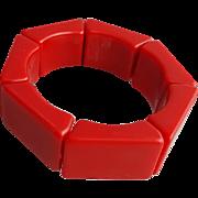 Vintage Expansion Bracelet 1980's Chunky True Red