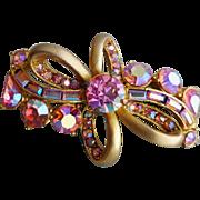 1950s Hollycraft Pink Rhinestone Ribbon Brooch Pink Gold Plated Sparkler