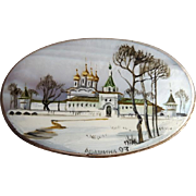 Russian Brooch Hand Painted Winter Palace Scene on Mother of Pearl Fedoskino