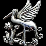 Early Coro Sterling Silver Egret or Stork Brooch Pegasus Mark 3.3 Grams