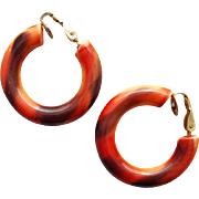 Autumn Colors Vintage Hoop Earrings Clip on Style Possible Bakelite