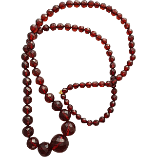 Vintage Bakelite Necklace Faceted Deep Cherry Red Art Deco Beads