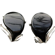 1960s Black Lucite Earrings in Silver Tone Metal Sophisticated and Sassy