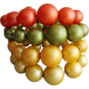 1960s Memory Wire Bracelet Autumn Colored Beads