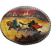 Russian Fedoskino Brooch Hand Painted On Mother of Pearl Bear in a Sleigh