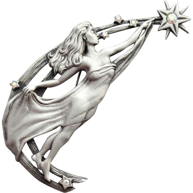 Woman Reaching for the Stars Brooch JJ Jonette Pewter with Rhinestones
