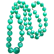 Long 1960s Moonglow Lucite Bead Necklace in Luminescent Green