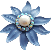 Periwinkle Enameled Metal Flower Brooch with Rhinestones and Faux Pearl